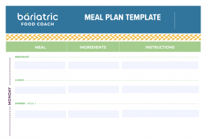Bariatric Meal Plan Template for meal planning after weight loss surgery