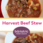 Pinterest Image Harvest Beef Stew on Bariatric Food Coach