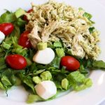 Avocado Caprese Chicken Salad torn lettuce mozzarella cherry tomatoes pesto chicken for weight loss surgery patients on Bariatric Food Coach