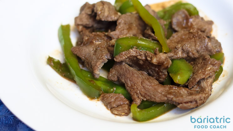 Barbecue Beef Fajitas lean siloin steak strips on a plate with green bell peppers bariatric friendly recipe