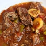 Harvest Beef Stew for Slow Cooker or Instant Pot with stew meat, mushrooms, peppers, tomatoes on Bariatric Food Coach