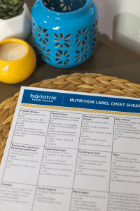 Printed PDF of Bariatric Nutrition Label Cheat Sheet on a table