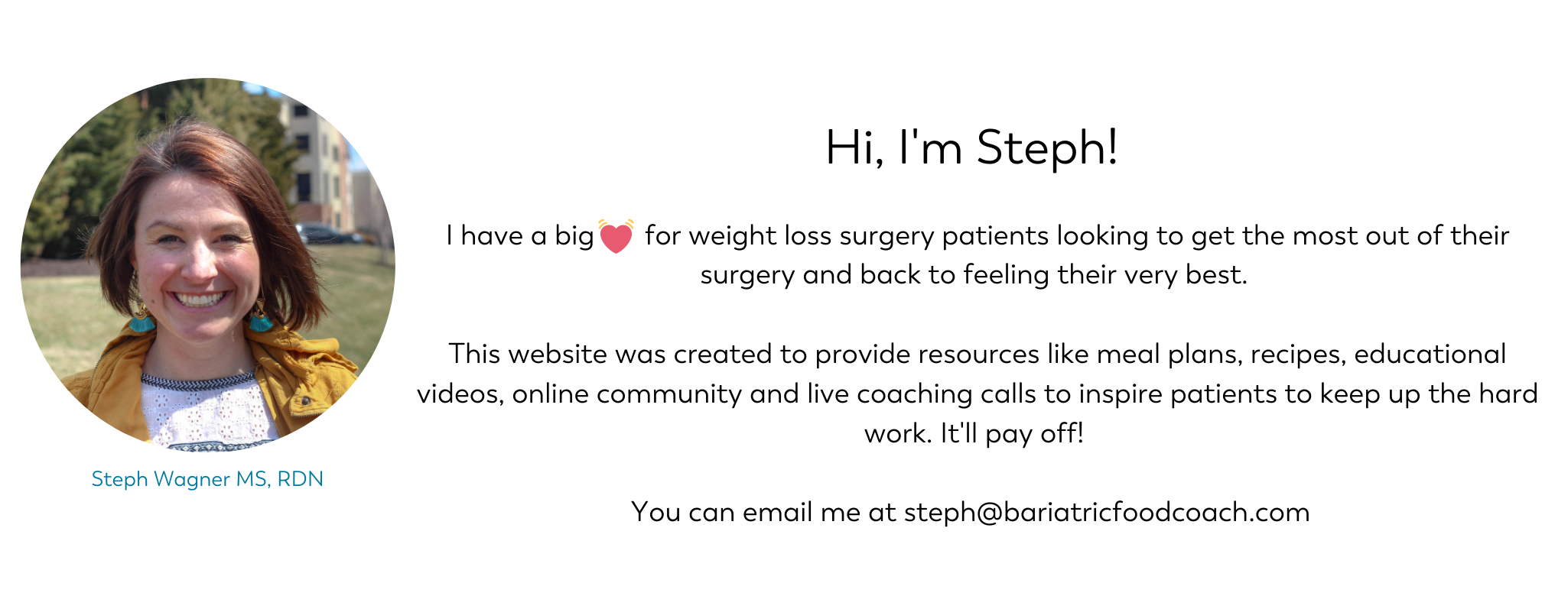 Website Bio for Steph Wagner dietitian on Bariatric Food Coach