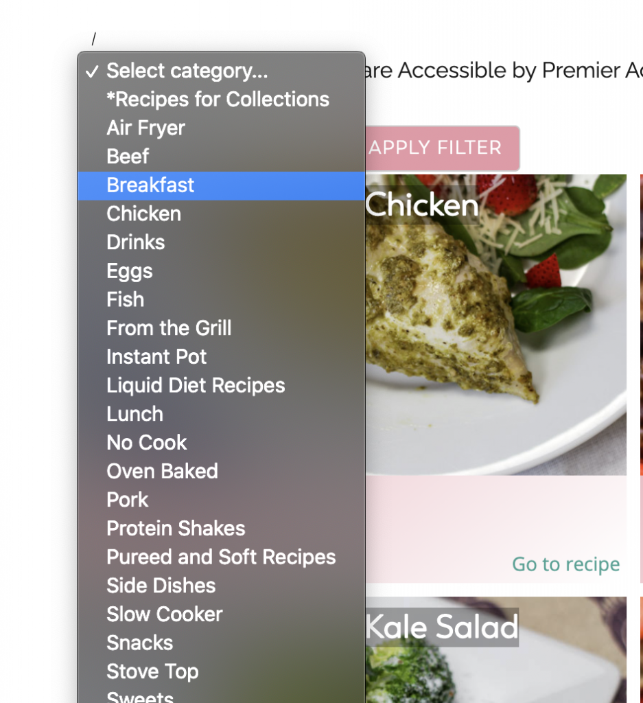 recipe grid sorting feature on bariatric food coach