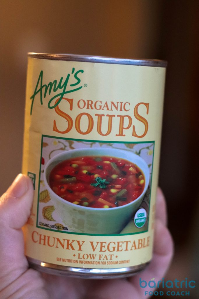 Amys Organic Chunky Vegetable Soup Label for Quick beef vegetable stoup on bariatric food coach