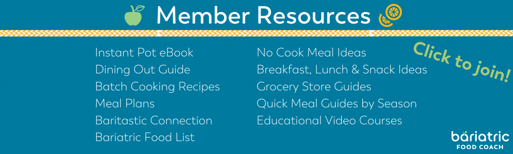 member resources image for bariatric food coach including meal plans educational videos no cook meal guide dining out guide and more