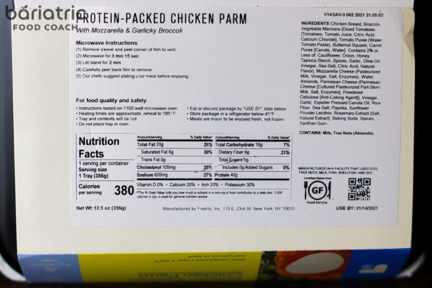 Freshly® Meal Kit Chicken Parmesan photo and label review for bariatric surgery patients