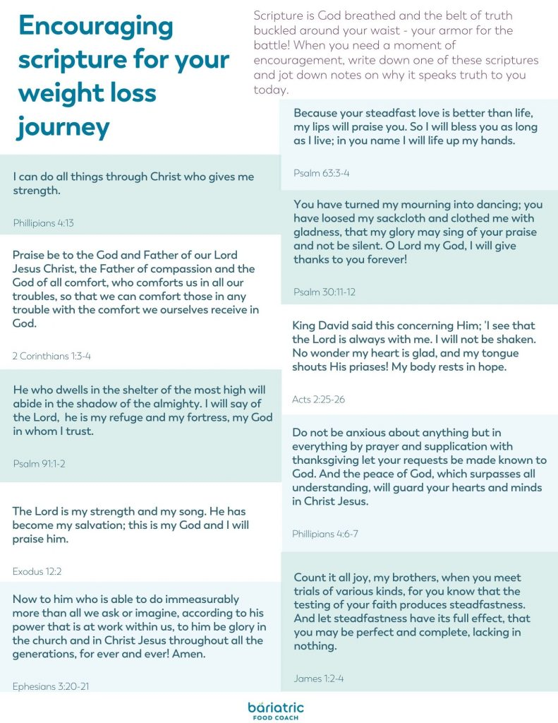 encouraging scripture for the weight loss surgery journey